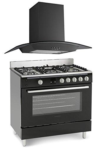 Montpellier MR90GOK Black Gas Range Cooker & Unbranded Curved Glass 90cm...