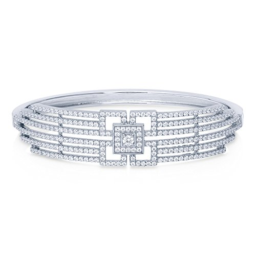 Bangles Black Vintage Diamond (BERRICLE Rhodium Plated Sterling Silver Cubic Zirconia CZ Art Deco Bangle Bracelet)