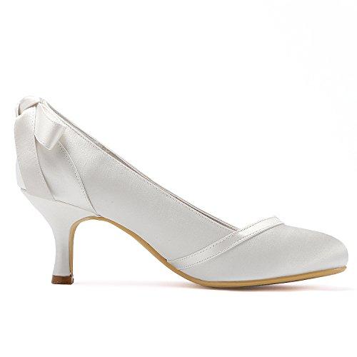 Blanc Mariage Talon Escarpins Chaussures de Mariée Fermé Satin Bout Femme de Mi Arc HC1804 Elegantpark wU6B16