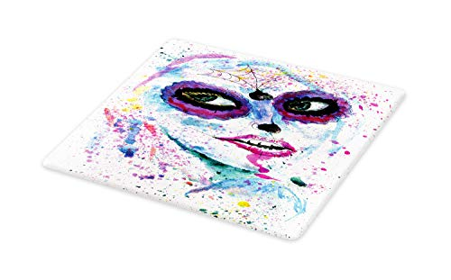 Ambesonne Ethnic Cutting Board, Grunge Halloween Lady with Sugar Skull Make Up Creepy Dead Face Gothic Woman Artsy, Decorative Tempered Glass Cutting and Serving Board, Small Size, Purple -