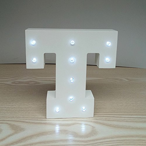 ARTSTORE Decorative DIY LED Letter Lights Sign,Light Up Wooden Alphabet Letter Battery Operated Party Wedding Marquee Décor,Cold White T (Initials Home Decor Letters)