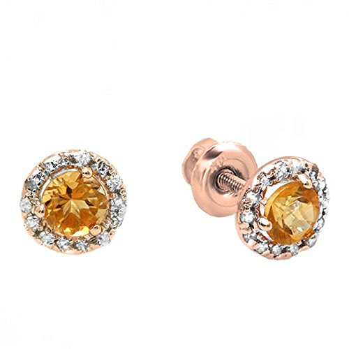 And Citrine Diamond Earrings (10K Rose Gold Round Deep Yellow Citrine & Diamond Halo Stud Earrings)