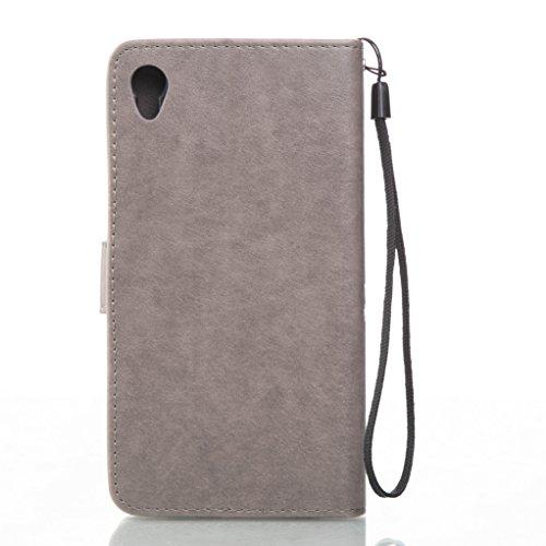 Trumpshop Smartphone Carcasa Funda Protección para Sony Xperia XA + Rojo + PU Cuero Caja Protector Billetera con Cierre magnético la Ranura la Tarjeta Choque Absorción Gris