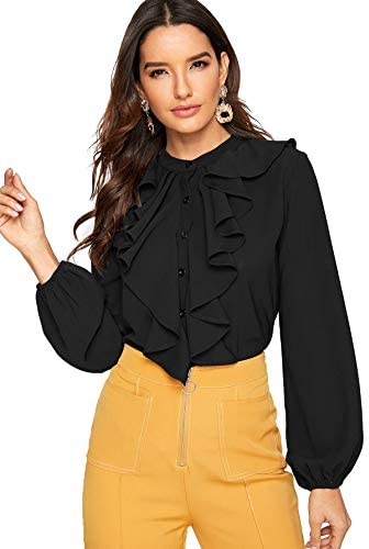 SheIn Women's Long Sleeve Button Down Lotus Ruffled Work Shirt Chiffon Blouse Top