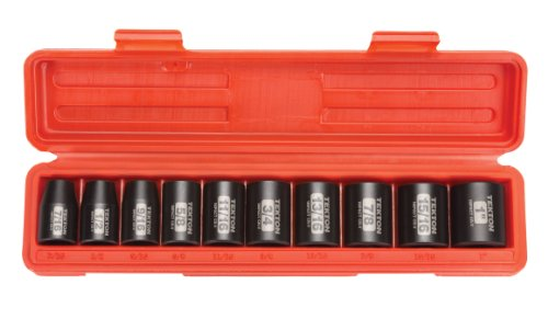 (TEKTON 1/2-Inch Drive Shallow Impact Socket Set, Inch, Cr-V, 6-Point, 7/16-Inch - 1-Inch, 10-Sockets |)