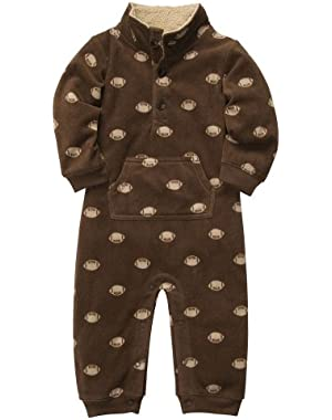 Carter's Boys Football Microfleece 1 Pc Coveralls Jumpsuit Brown (9 months)