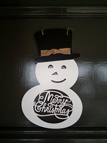 - QOluxury Handmade and Painted Wooden Snowman Door Decor Burlap Hanger