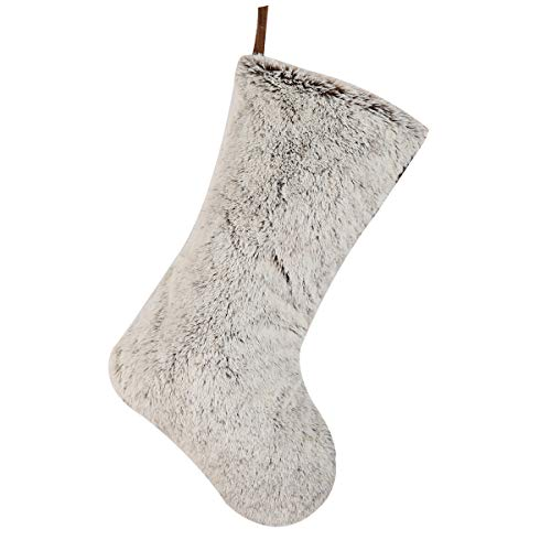 Alice Doria 21 Plush Faux Fur Christmas Stocking, Grey and Brown Color, Large Size Personalized Stocking Decorations for Family Holiday Xmas Party and Seasonal Decorations
