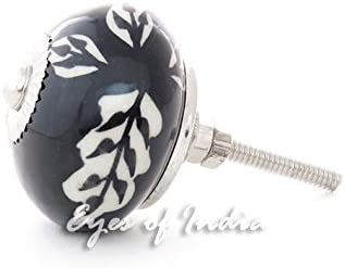 Set of 2 Black White Ceramic Cupboard Door Cabinet Dresser Knobs Pulls Decorativ Eyes of India