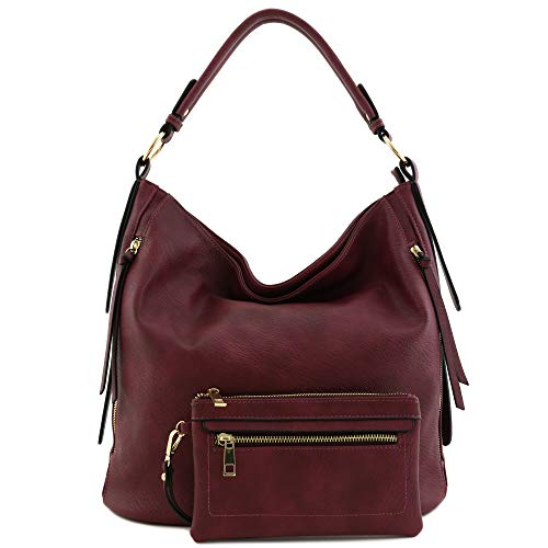 2pc Set Faux Leather Large Hobo Bag with Pouch Purse Burgundy ()