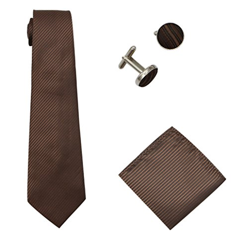 Brown Square Neck (Bioterti Men's 3-Piece Necktie Set:Solid Color Stripes Necktie, Pocket Square & Cufflinks (Coffee))