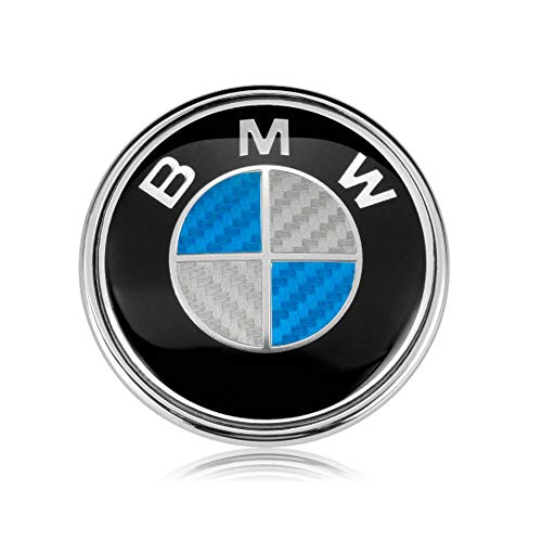 BMW Emblems Hood/Trunk, 82mm Carbon Fiber BMW Logo Replacement for ALL Models BMW E46 E30 E36 E34 E38 E39 E60 E65 E90 325i 328i X3 X5 X6 3 4 5 6 7 8 (Blue)