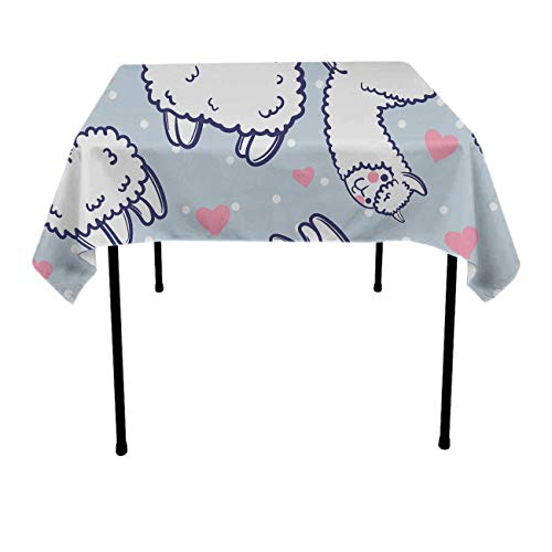 GOAEACH Stain Resistant Waterproof Square/Rectangular Table Cloths - Cute Alpacas Hearts Pattern Table Art, Square Round Tables Table Cloths Restaurant, BBQ, Family Dinners