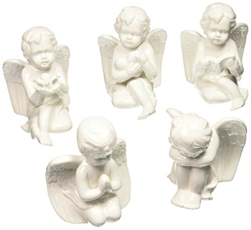 Set of 5 White Porcelain Cherubs/Angels Beautiful Collectible Angels