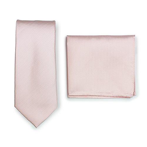 Finish Blush (Bows-N-Ties Men's Solid Necktie and Pocket Square Set Matte Herringbone Finish (Peach Blush))