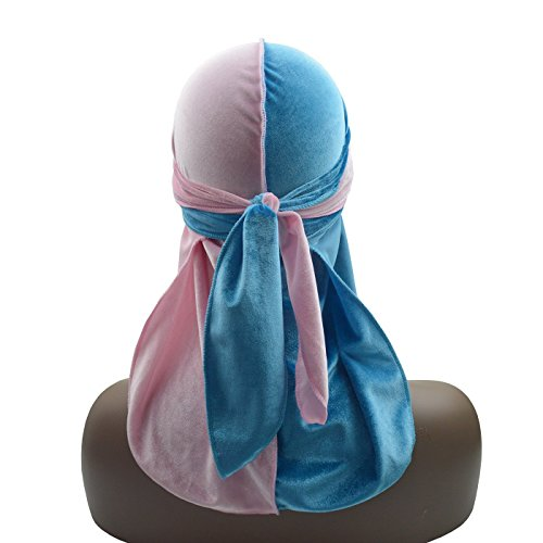 Silky Color Matching Two Tone Velvet Durag 360 Waves Extra Long Tail and Wide - Lv Hat