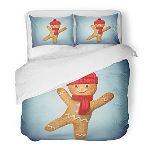 Emvency Bedding Duvet Cover Set Full/Queen (1 Duvet Cover + 2 Pillowcase) Active Gingerbread Man 3D Cookie Cartoon Character Wearing Knitted Scarf and Hat Hotel Quality Wrinkle and Stain -