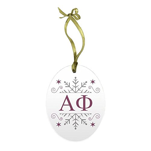 Express Design Group Alpha Phi Holiday Color Snowflake Glass Christmas Ornament