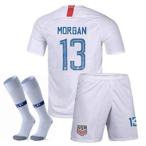 Udefending Morgan #13 Home Soccer Jersey for Youth & Kids Or Shorts & Socks Set White (Childrens Usa Soccer Jersey)