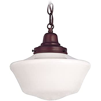 10-Inch Schoolhouse Mini-Pendant Light with Chain in Bronze Finish