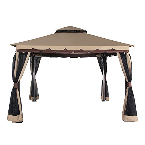 Cloud Mountain Garden Gazebo 130'' x 130'' Outdoor Gazebo with Mosquito Netting Metal Patio Gazebo Canopy Double Roof Vented BBQ Gazebo, Sand by Cloud Mountain