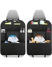 WALBISON bilstolsorganisatör och ryggstödsskydd 2 delar bilbaksätesförvaring för barn, vattentätt baksätesförvaring för barn, 7 fickor, sparkskydd för bilsäten, svart