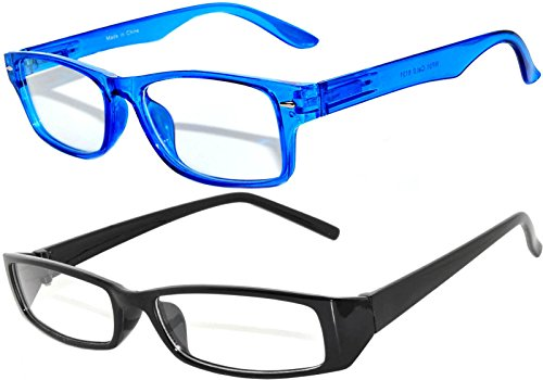 Narrow Retro Fashion Style Rectangular Black Blue Frame Clear Lens - Rectangular Frames Eyeglass