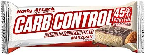 Body Attack Carb Control, Proteinriegel ohne Zuckerzusatz, Low Carb – High Protein, Eiweißriegel mit Whey, auch in der Mix-Box (Marzipan, 4 x 100g)