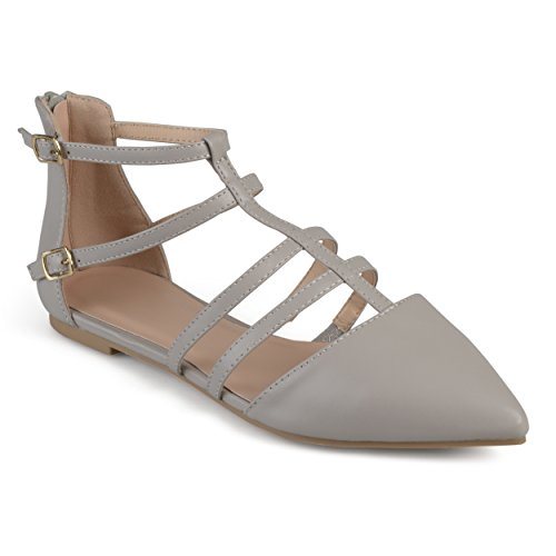 Journee Collection Mujeres Strappy Pointed Toe Flats Gris