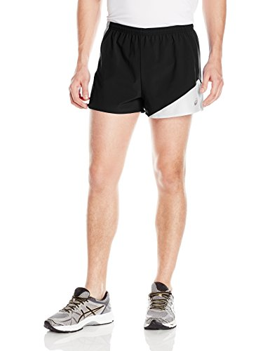 ASICS Men's Gunlap 1/2 Split Shorts, Black/White, Large (White Split And Black Shorts)