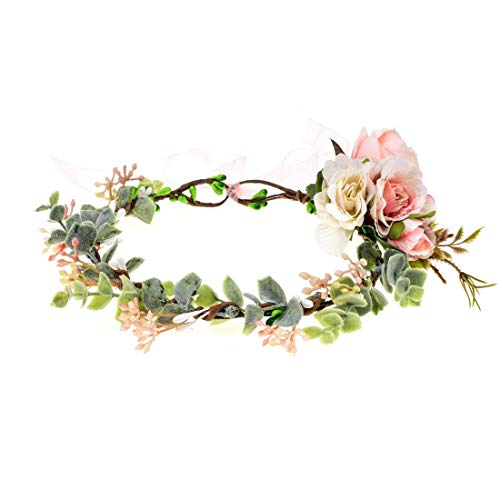 Vividsun Bridal Green Leaf Crown Bohemian Headpiece Floral Headband Photo Prop (Pink flower/leaf)