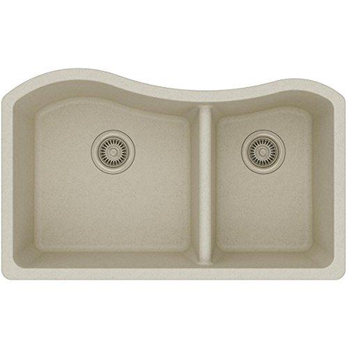 Elkay Quartz Classic ELGHU3220RBQ0 Bisque 60/40 Double Bowl Undermount Sink