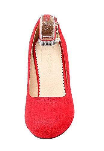 Allhqfashion Donne Rosso Inarcamento Punta calzature Della talloni Pompe Smerigliato Delle Chiusi Rotondo PExtwwq6Y