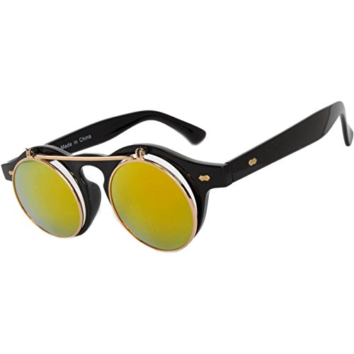 Steampunk Retro Gothic Vintage Colored Metal Round Circle Frame Sunglasses Colored Lens OWL (Flipup_C10_Black_Yellow_Mirror, PC Lens) ()