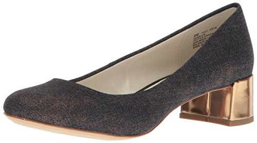 Anne Klein Women's Hallie Fabric Pump, Denim-Gold/Bronze, 6.5 M US 25023259