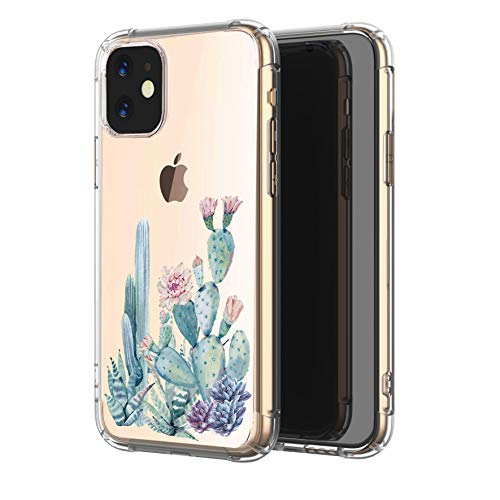 LUOLNH iPhone 11 Case,iPhone 11 Case with Flowers,Shockproof Clear Floral Pattern Soft Flexible TPU Back Cover for iPhone 11 6.1 inch 2019-Cactus