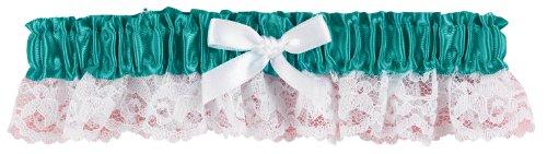 Hortense B. Hewitt Wedding Accessories Ribbon and Lace Garter, Jade (Jade Satin Garter)