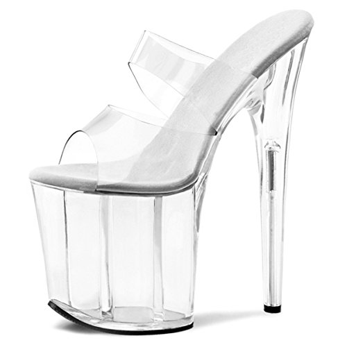 Womens 8 Inch Heels Clear Double Strap High Platform Sandals Dancer Slide Shoes Size: -