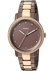 Fossil Womens Neely Quartz Stainless Steel Casual Watch, Color:Brown (Model: ES4300)