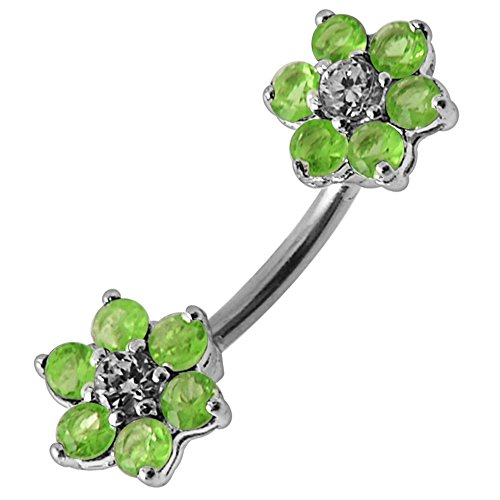 Peridot Green CZ Stone Double Side Mini Flower 925 Sterling Silver Belly Button Ring Jewelry