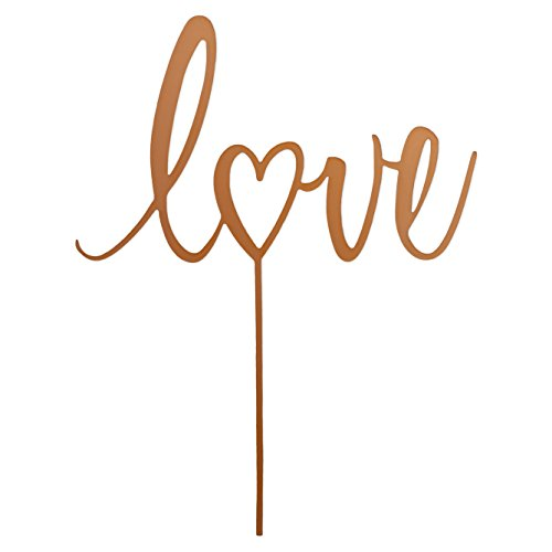 Clever Makers Acrylic Rustic Love Wedding Cake Topper - Copper