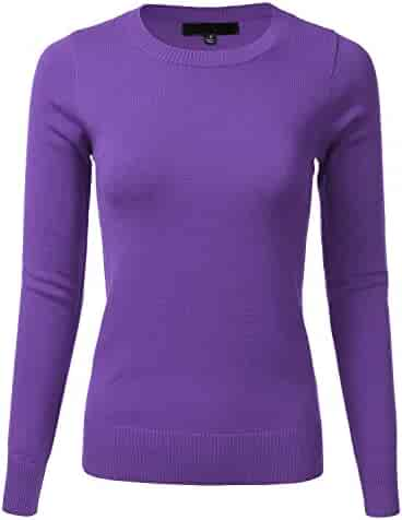 0ff81c51bef2d3 Women's Crewneck Long Sleeve Soft Pullover Knit Sweater Top with Ribbed Trim