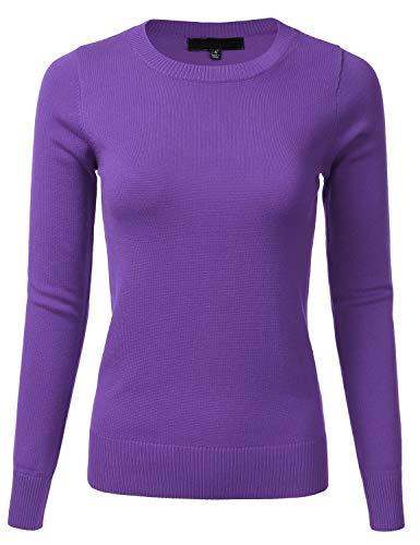 Women's Long Sleeve Soft Crewneck Ribbed Trim Border Knit Top Sweater Blueberry - Trim Striped Crewneck Sweater