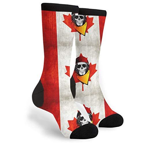 Distressed Rebel Flag - KSSChr Men Women Classic Crew Socks Rebel Skull Distressed Canadian Flag Classics Personalized Socks Sport Athletic Stockings