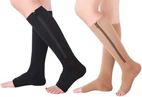 2 Pairs Open Toe Knee Length Zipper Compression Socks 15-20 mmHg Support 3 Size