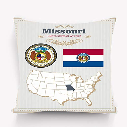 Throw Pillow Cushion Cover high Detailed Set Flag Coat arms Missouri American Poster Greeting Card map United States America Decorative Square Accent Pillow Case 18 X 18 inches