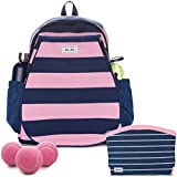 Ame & Lulu Game On Fashion Court Set or Kit – Small Tennis Backpack Bundled with Matching Accessories Bag and a Can of Pink Tennis Balls