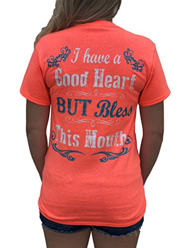 Southern Attitude I Have a Good Heart But Bless This Mouth Heather Coral Funny Women's T-Shirt (2X-Large)