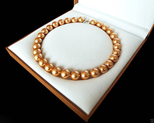 Aaa Seashell Pearl Necklace - Rare Huge 12mm Genuine Champagne Round South Sea Shell Pearl Necklace 18'' AAA