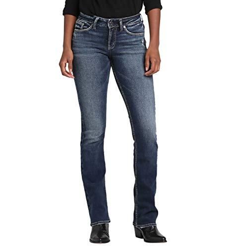 Silver Jeans Co. Women's Suki Curvy Fit Mid Rise Slim Bootcut Jeans, Power Stretch Dark Indigo, - Power Bootcut Stretch Pant